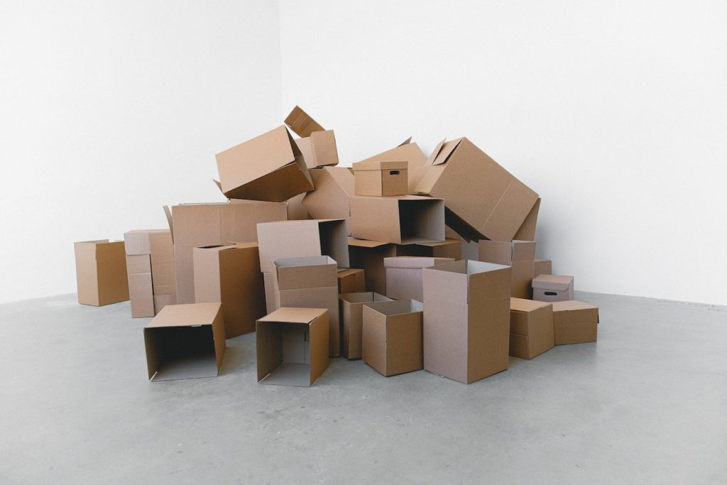 a pile of cardboard boxes
